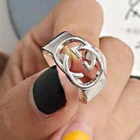GUCCI 925 Silvery Hot Sale Women Men Chic Double G Ring Accessories Jewelry