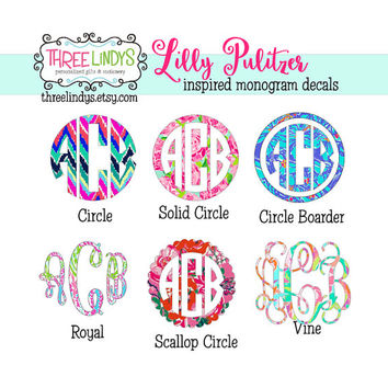 Lilly Pulitzer Monogram Decal- Monogram Sticker- Vinyl Decal- Car Decal- Laptop Decal- iPhone Decal- Yeti Decal- Camelback Decal