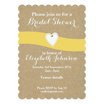 Bridal Shower Card Yellow