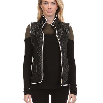 Fate Faux Leather Quilted Vest in Black FTP2181-BLACK