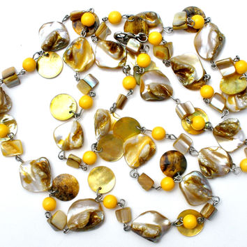 """Abalone Seashell and Yellow Bead Necklace 42"""""""