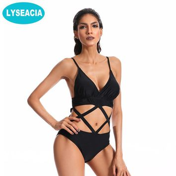 Black Bandage Swimwear One Piece Women Low Waist Swimsuit Hollow Out Swimming suits Female