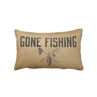 Burlap Vintage Gone Fishing from Zazzle.com