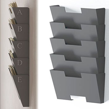 Gray Wall Mount Steel File Holder Organizer Rack 5 Sectional Modular Design W...