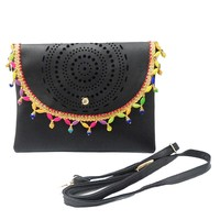Black Fringed Faux Leather Cut Out Clutch Bag