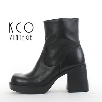 Platform Boots 8 Black Leather Ankle Boots Chunky Boots Block Heel 90s Grunge Goth Vintage Shoes Boot Women's Size US 8 / UK 6 / EUR 38 - 39