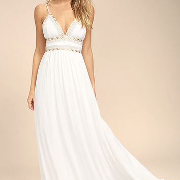Giza White Embroidered Maxi Dress