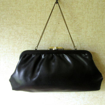 Black Clutch Bag with chain faux leather handbag evening bag high fashion hipster prom formal vintage 50s 60s vegan clutch purse Mad Men era