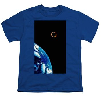 Solar Eclipse From The Space By Adam Asar 2 - Youth T-Shirt