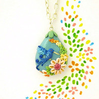 Hummingbird spring necklace Wedding OOAK by FlowerLandShop