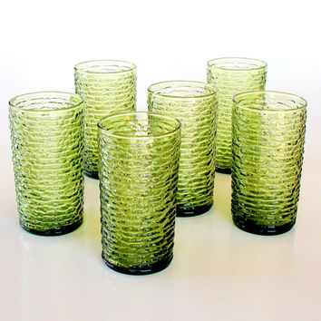 Anchor Hocking Soreno Tumblers Avocado Green 1960s Highball Glasses Set of 6