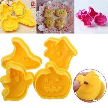 4pcs Halloween series cake cookie fruit cutters biscuit cake mold spring press mould