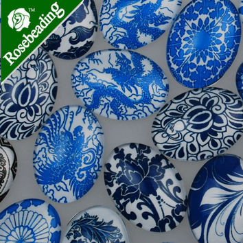 20pcs 18x25mm oval blue and white porcelain pattern glass cabochon,mixed pictures,flat back,thickness 5.5mm-10029851