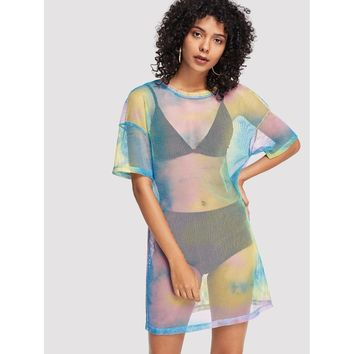 Drop Shoulder Tie Dye Fishnet Cover Up Dress Multicolor