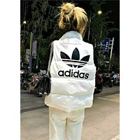Adidas Winter Trending Women Stylish Print Sleeveless Vest Waistcoat Zipper Cardigan Jacket Coat White