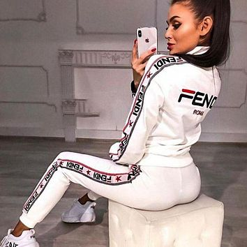FENDI Classic Fashion Women Casual High Collar Long Sleeve Top Pants Trousers Set Two-Piece Sportswear Black