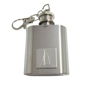 Silver Toned Etched Nautical Sail Boat 1 Oz. Stainless Steel Key Chain Flask