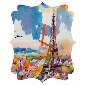 Ginette Fine Art Under Paris Skies Quatrefoil Clock