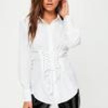 Missguided - White Corset Detail Shirt