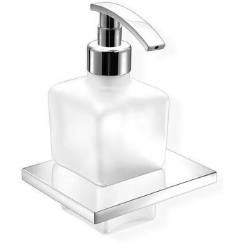 SCBA Minimal Wall Frosted Glass Bathroom Pump Soap Lotion Dispenser - Brass