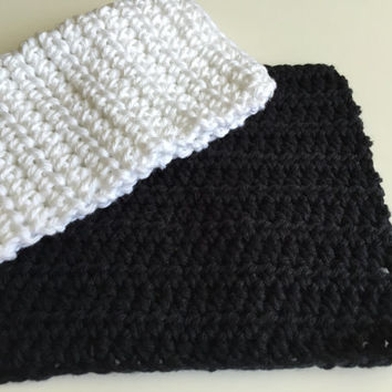 Crochet Dishcloth - Black Dishcloth - White Dishcloth - Cotton Dishcloth -  Kitchen Washcloth - Kitchen Dishrag - Handmade Dishcloth