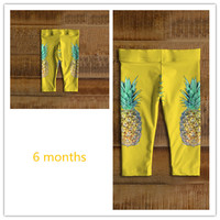 Girls' leggings Happy baby leggings Yellow baby leggings Happy pineapple baby leggings Print On Demand product POD leggings