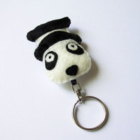 Panda felt key ring, black and white