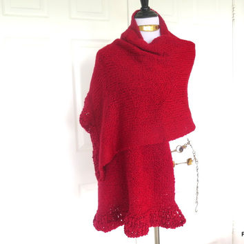 Large Red Knit Shawl, Evening Wrap Gift For Her