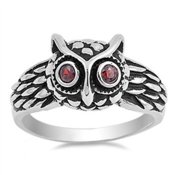 925 Sterling Silver Simulated Garnet Owl Vintage Motif Ring 11MM