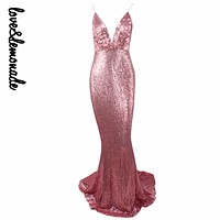 Love&Lemonade Sexy Pink Elastic Sequin V Collar Exposed Back Maxi Dress LM0042