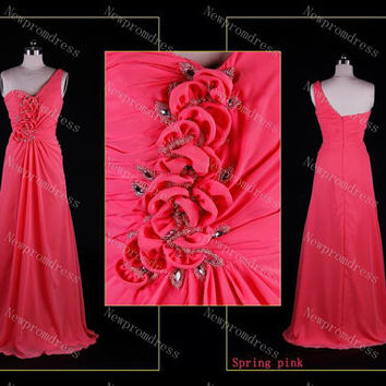 Fashion chiffon one-shoulder with flowers floor-length prom dresses,evening dresses