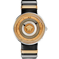 Versace Greek Key Black Leather Strap Watch - Black