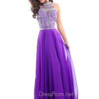 High Neckline With Razor Back Formal Prom Dress By Rachel Allan 6810