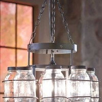 Wrought Iron Mason Jar Chandelier Rustic Country Cabin Lodge