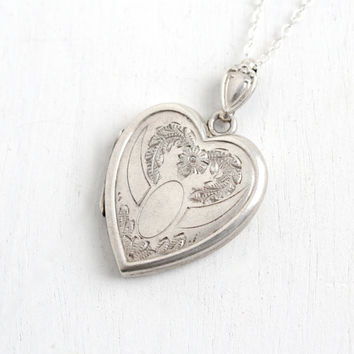 Vintage Sterling Silver Heart Locket Necklace- Mid Century WWII 1940s Sweetheart Flower Etched Romantic Jewelry