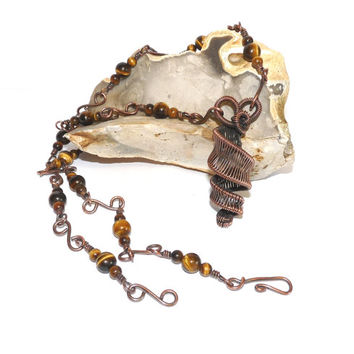 Long Wire Wrapped Necklace, Tigers Eye and Upcycled Copper, Spiral Pendant, Hand Crafted, Hand Forged, One Off, Plus Size