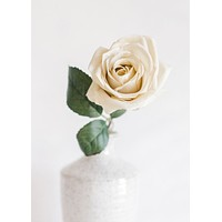 """SALE- Artificial Flowers Rose in Eggshell Cream - 21.5"""" Tall"""