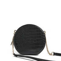 Faux Croc Skin Crossbody Bag