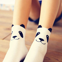 Kawaii Cute Panda Cotton Socks, Cotton Short Socks, Medium Cotton Socks,Christmas Gift, Women Socks, Cat Socks, Knee Socks, Slip Socks