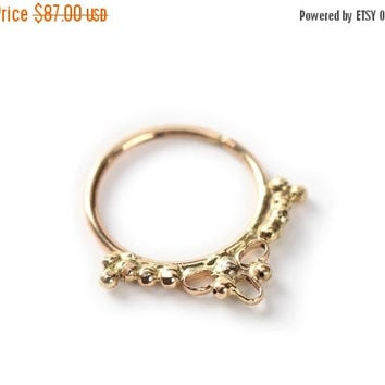 November sale septum jewelry - Gold nose ring - 14 karat yellow gold - nose jewelry - septum ring - tragus - piercing