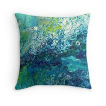 'Blue Fluid Art Painting' Throw Pillow by Maria Meester