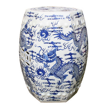 Chinese Blue and White Porcelain Garden Stool Hexagonal Dragon Motif 18""