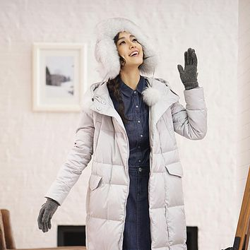 "INMAN ""Women 's new hooded and thicken female long down jacket to keep warm winter coat, feather coats"