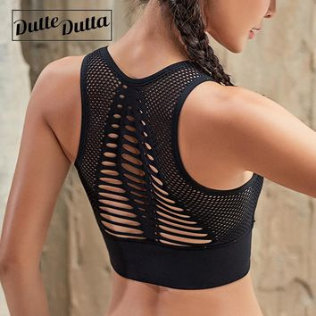 Duttedutta Sexy Hollow Out High Impact Sports Bra Mesh Back Workout Yoga Bra Tops Gym Fitness Running Brassiere Women Sport Bra