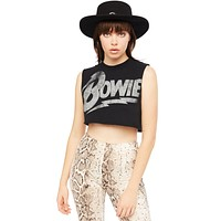 Black David Bowie Cropped Tee by Goodie Two Sleeves