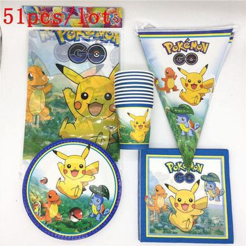 51Pcs/Lot  Go Pikachu Kids Girls Birthday Party Decorations Plates Paper Cups Tablecloth Flags Package Party SuppliesKawaii Pokemon go  AT_89_9