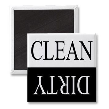 Clean dirty-Black dishwasher magnet from Zazzle.com