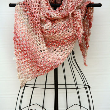 Pink Ombre Crocheted Triangle Shawl