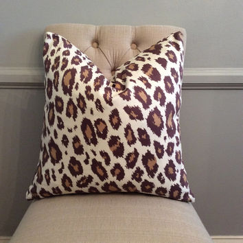 Handmade Decorative Pillow Cover - Cheetah - Animal Print - Brown
