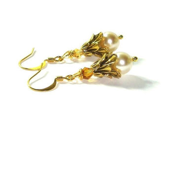 Swarovski Pearl Earrings , Topaz Amber Crystals , Gold  Ear Wires , Gift For Her